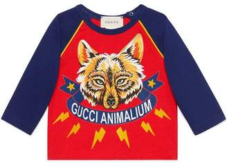 Gucci Kids Baby Animalium and wolf T-shirt