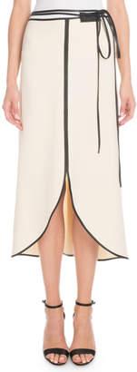Victoria Beckham Leather-Trim Tie-Waist Tulip Midi Skirt