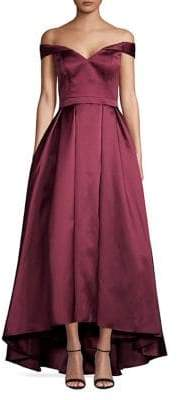 Xscape Evenings Pleated Off-the-Shoulder Gown