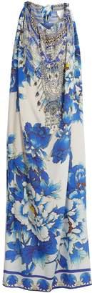 CAMILLA Ring of Roses drawstring silk maxi dress $600 thestylecure.com