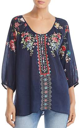 Johnny Was Sheera Embroidered Contrast Blouse