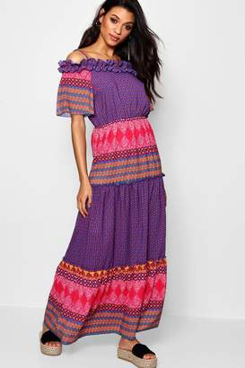 boohoo Tiered Bohemian Print Maxi Dress