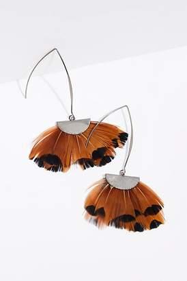 Serefina Feather Fan Flare Hoop Earrings