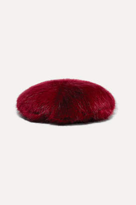 Emma Brewin - Faux Fur Beret - Burgundy