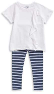 Splendid Baby's Two-Piece Ruffle Tee and Stripe Leggings Set