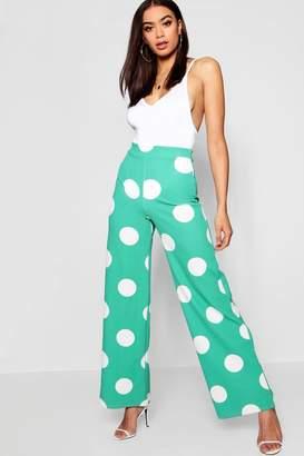 boohoo Large Polka Dot Wide Leg Trouser