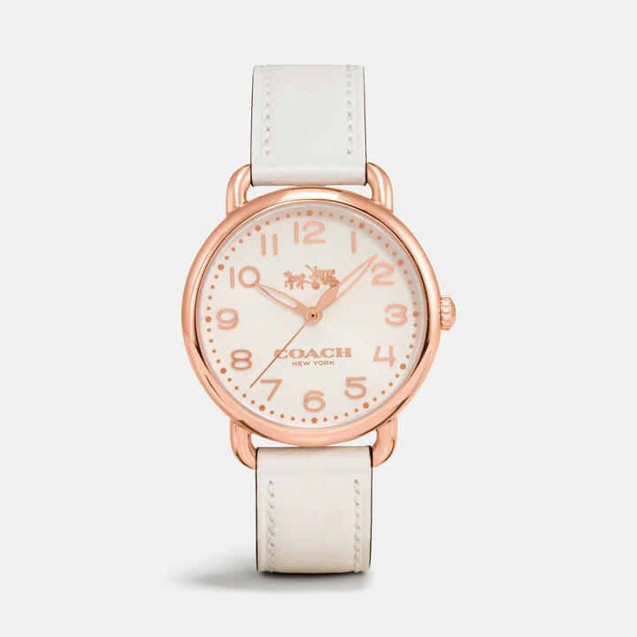 Coach  COACH Coach Delancey Rose Gold Tone Sunray Dial Leather Strap Watch