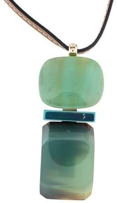 Marni Resin & Horn Leather Pendant Necklace