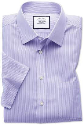 Charles Tyrwhitt Classic Fit Non-Iron Bengal Stripe Short Sleeve Lilac Cotton Dress Shirt Size 15/Short