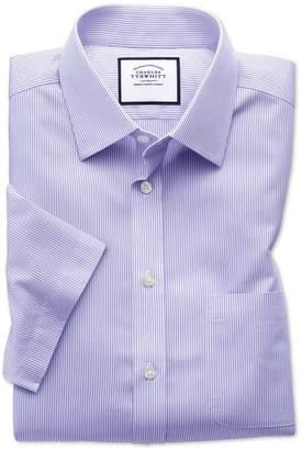 Classic Fit Non-Iron Bengal Stripe Short Sleeve Lilac Cotton Dress Shirt Size 15/Short by Charles Tyrwhitt