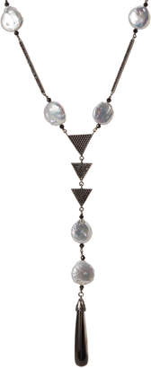 Mother of Pearl Bavna Sterling Silver Mother-of-Pearl & Black Spinel Draped Necklace