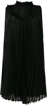 Prada pleated frill bib dress