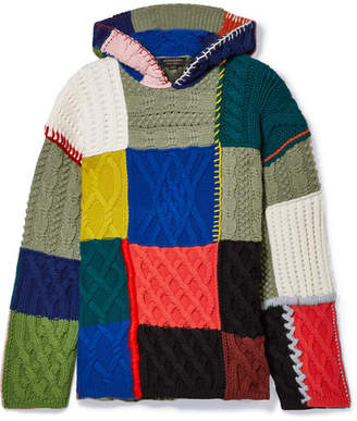 Burberry Hooded Patchwork Wool-blend Sweater - Blue