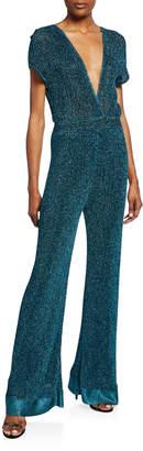 M Missoni Metallic Double V-Neck Short-Sleeve Flare Jumpsuit