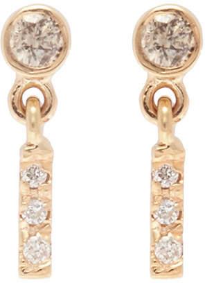 Xiao Wang 'Gravity' diamond yellow gold bar drop earrings