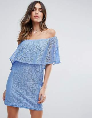 Asos Off Shoulder Lace Mini Shift Dress With Frill Detail
