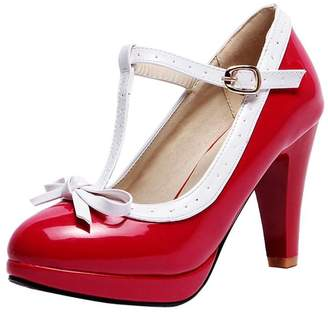 Agodor Women's T-Strap Block High Heels Platform Mary Janes Pumps with Cute Bowtie Buckle Shoes