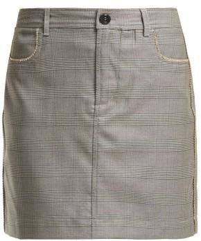 Ganni Merkel Diamante Checked Silk Blend Skirt - Womens - Grey