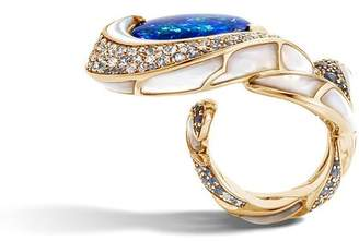 John Hardy Legends Naga Trilogy Opal Ocean Ring