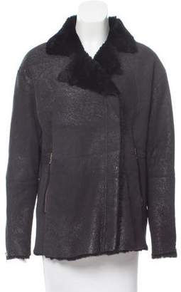 J Brand Notch-Lapel Shearling Jacket