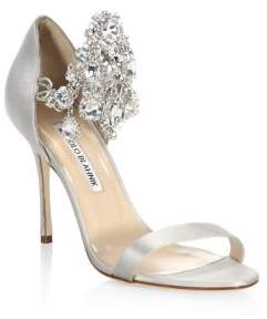 Manolo Blahnik Zullinsan Embellished Satin Sandals