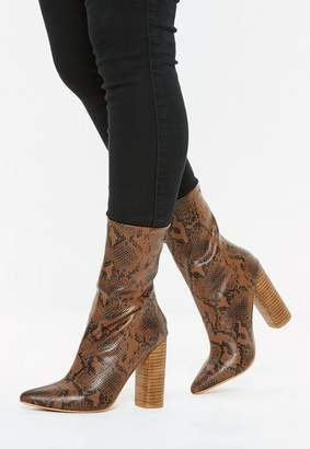 Missguided Tan Snake Print Block Heel Tubular Boots
