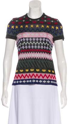 Mary Katrantzou Glitter-Accented Graphic Top