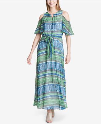 Calvin Klein Printed Cold-Shoulder Maxi Dress