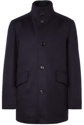 HUGO BOSS Coxton Virgin Wool And Cashmere-blend Coat With Detachable Liner - Navy