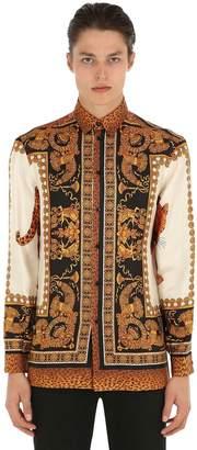 Versace Fluid Fit Baroque Print Silk Twill Shirt