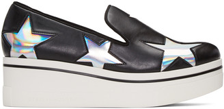 Stella McCartney Black Binx Holographic Stars Loafers $565 thestylecure.com