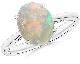 Angara.com October Birthstone - Classic Prong Set Solitaire Oval Opal Cocktail Ring in Platinum (10x8mm Opal)
