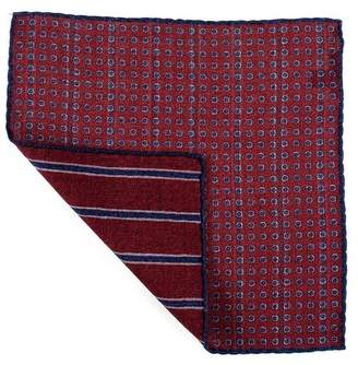 Black Burgundy and Blue Reversible Wool Pocket Square