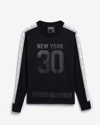 Express Solid Long Sleeve Taped New York Graphic Tee