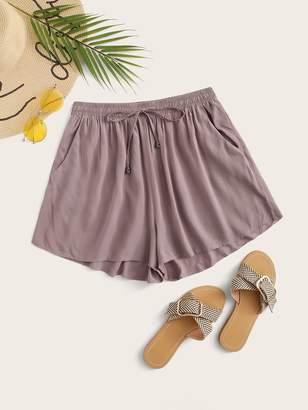 Shein Drawstring Waist Slant Pocket Wide Leg Shorts
