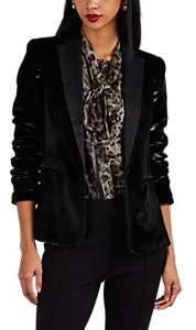 Frame Women's Satin-Trimmed Velvet One-Button Blazer - Black