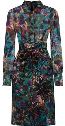 Anna Sui Printed Fil Coupé-Paneled Cotton-Blend Jacquard Dress