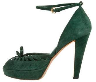 Gucci Suede Peep-Toe Sandals