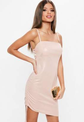 Missguided Pink Square Neck Ruched Side Bodycon Dress