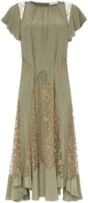 Chloé lace insert silk dress