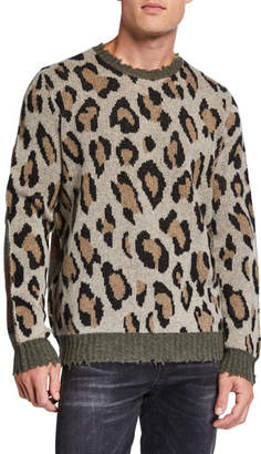 R 13 Men's Leopard/Camo Raw-Edge Crewneck Sweater
