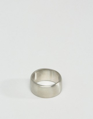 Brushed Stainless Steel Wide Ring