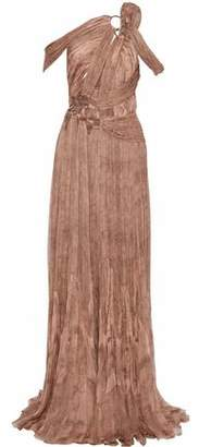 Roberto Cavalli Ring-embellished Cutout Printed Plisse Silk-gauze Gown