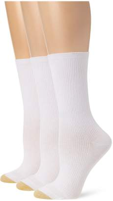 Gold Toe Women's 3 Pair Premium Cotton Non Binding Crew Sock