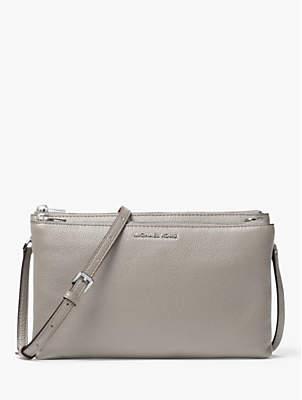 Michael Kors MICHAEL Money Pieces Leather Double Zip Cross Body Bag, Pearl Grey