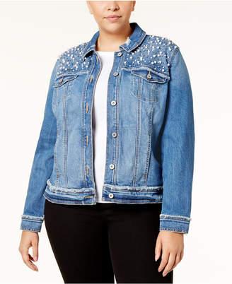 INC International Concepts I.N.C. Plus Size Embellished Denim Jacket, Created for Macy's
