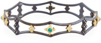 Armenta Open Pointed Bangle w/ Malachite, Moonstone & Diamonds