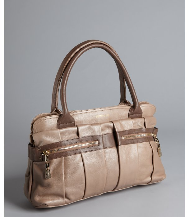 See by Chloe metallic brown sugar leather dual pocket front satchel