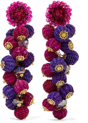Bibi Marini - Cluster Bead, Silk And Gold-tone Earrings - Pink