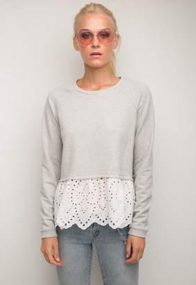 Generation Love Elena Eyelet Lace Double Layer Sweatshirt
